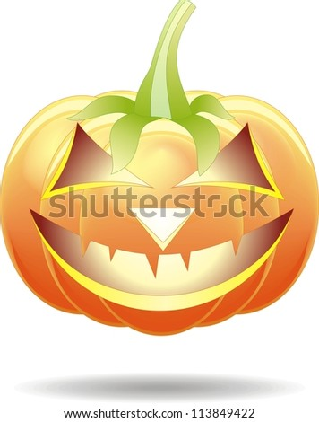 Scary Jack O Lantern halloween pumpkin with candle light inside - stock photo