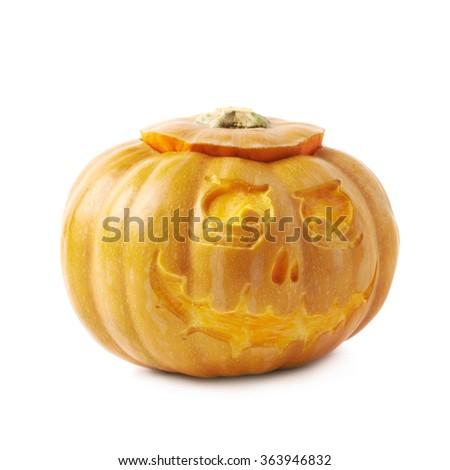 Scary Jack-O-Lantern pumpkin isolated - stock photo