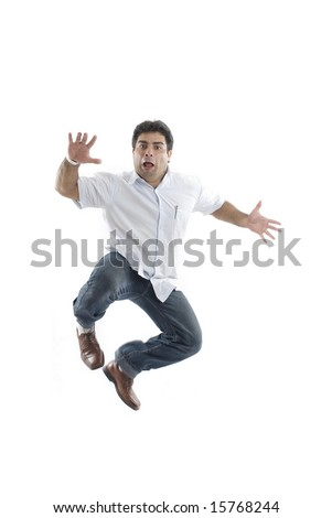 Scary man escaping on white background .