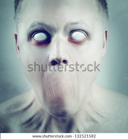 Scary man with white eyes and no mouth. - stock photo