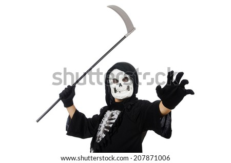 Scary monster with scythe isolated on white - stock photo