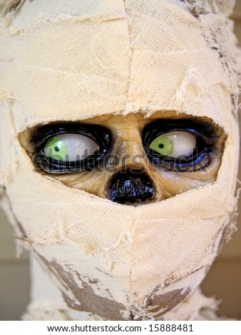 Scary mummy mannequin celebrating halloween