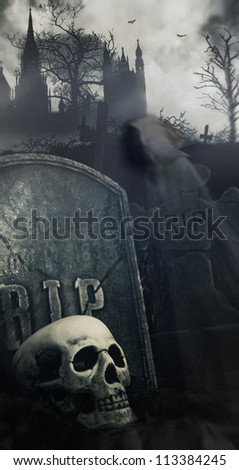Scary night scene in graveyard with skull and graves