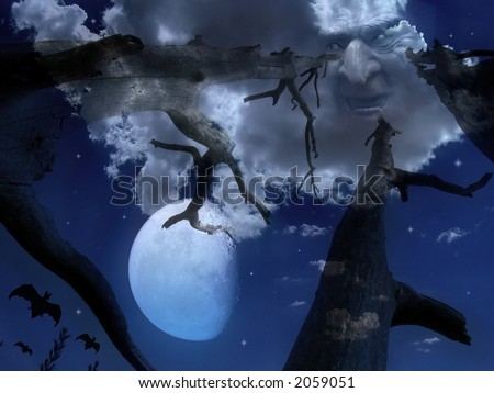 Scary night scene with sky , moon , monster face in clouds , bats and old trees - stock photo