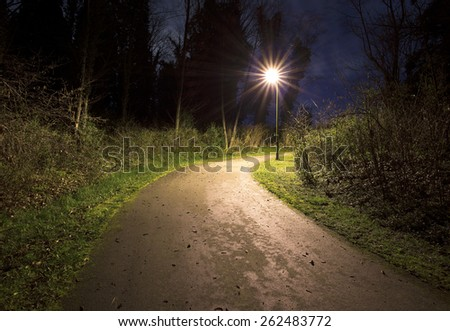 Scary place, path in the park in the night with a lantern - stock photo