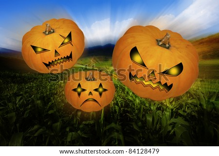 Scary Pumpkin within a graveyard