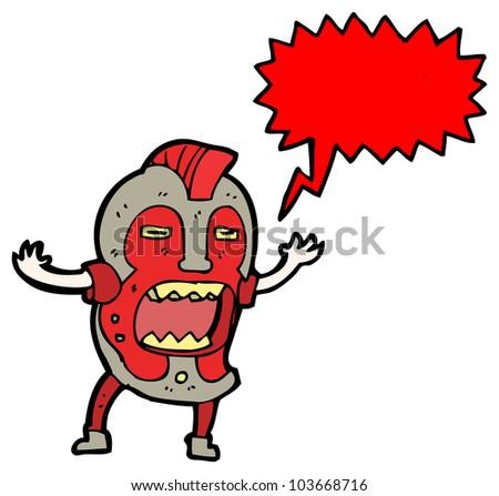 scary tribal mask man - stock photo