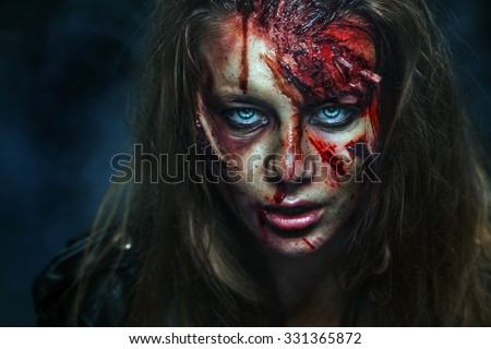 Scary zombie woman with wounds.  - stock photo