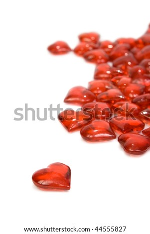 Scatter hearts. Isolated on white background.