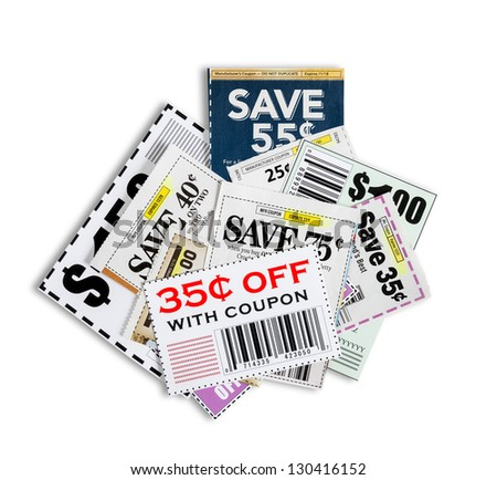Scattered Coupons/ Close Up/ Isolated On White Background Please note...all coupons showing are not real.  They are fictional. - stock photo