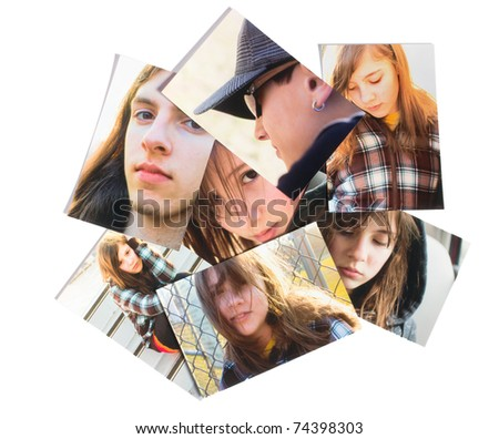 Scattered family photographs - stock photo