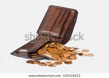 Scattered from the wallet coin - stock photo