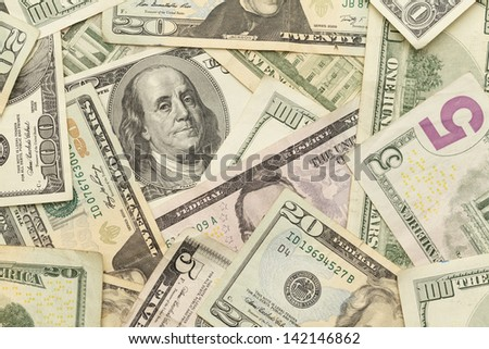 Scattered Money Laying Flat. Top View. - stock photo