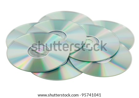 Scattered pile of CDs on a white background