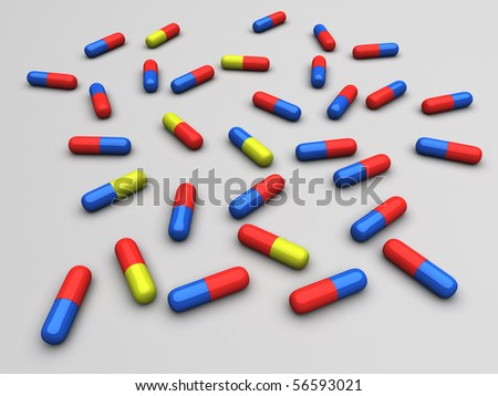 Scattered Pills - stock photo