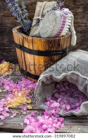 scattered, sea salt Spa treatment on wooden background