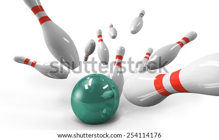 scattered skittle and bowling ball on white background - stock photo