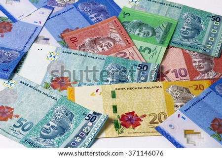 Scattered Various Ringgit Malaysia - stock photo