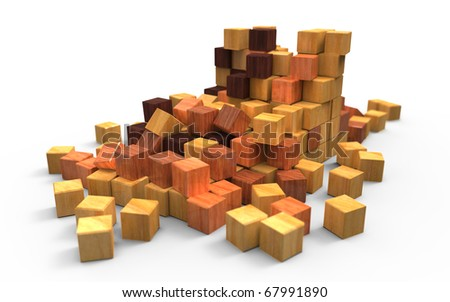 Scattered wooden cubes - stock photo