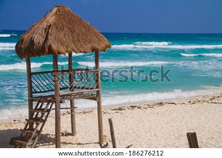 Scebe of a beach with waves (shot in Caribbean - Cozumel, Cancun, Mexico) - stock photo