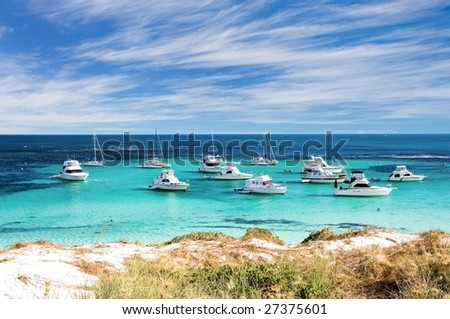 Scecnic view over the shore of Rottnest island in Australia - stock photo