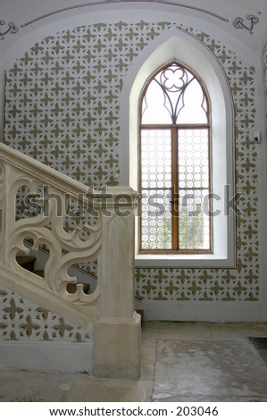 scene from castle indoors - stock photo