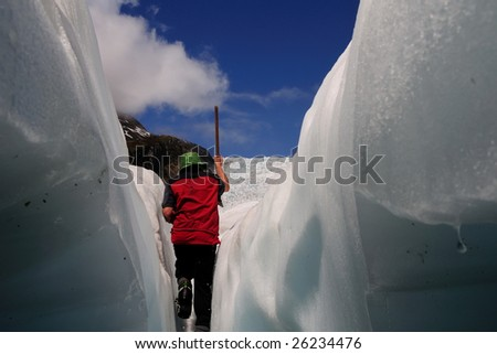 "Scene from walking on the Fox Glacier, ""New Zealand"" - stock photo"