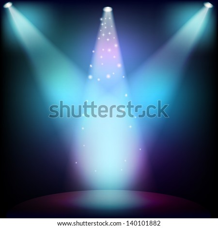 Scene illuminated by a spotlight. Raster copy of vector image - stock photo