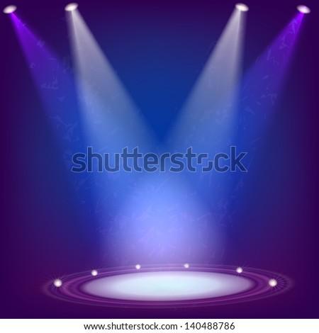 Scene illuminated by four spotlights. Raster copy of vector image - stock photo