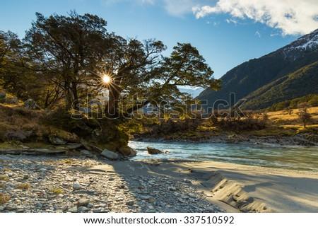 Scene in the Matukituki Valley in the Mount Aspiring National Park. - stock photo