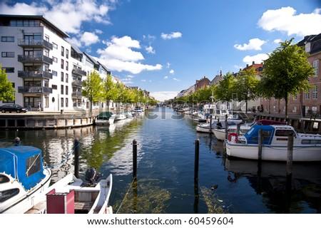 Scene in the Port of Copenhagen - stock photo