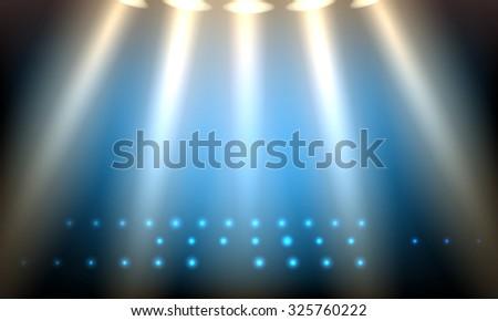 Scene lighting. Empty lit stage illustration.  - stock photo