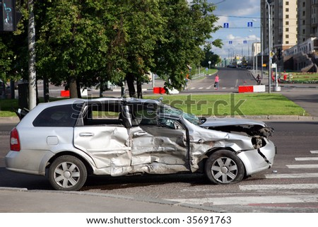 Scene of a car crash - stock photo