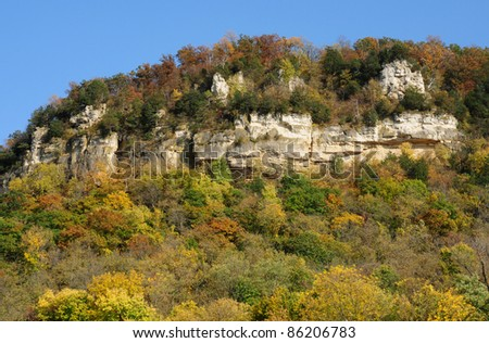Scene of bluff along Mississippi River in Wisconsin in late summer, early autumn - stock photo