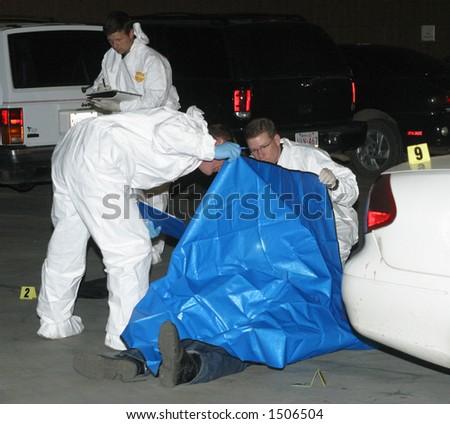 scene of fatal shooting - stock photo