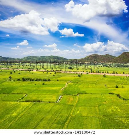 Scene of Green Farm. - stock photo