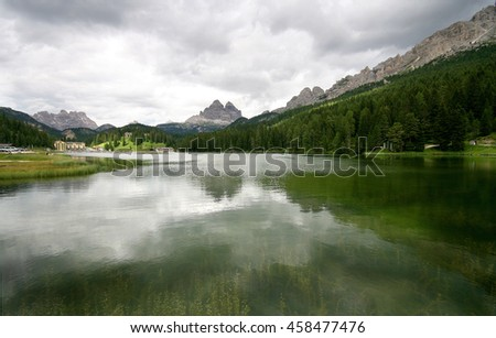 Scene of Lake of Misurina, Italian Dolomite Mountains. July, 2007.