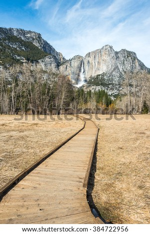 scene of pathway to Yosemite fall in the Yosemite valley area,Yosemite National park,California,usa. - stock photo