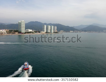 Scene of Puerto Vallarta from a cruise ship. Jalisco, Mexico. - stock photo