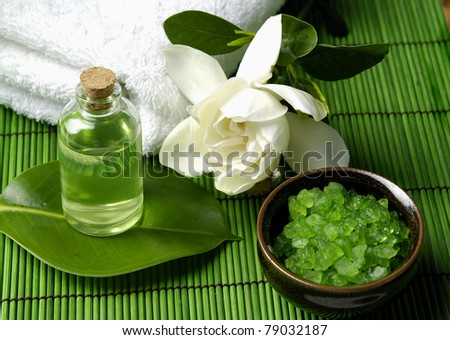 Scene of relaxing treatment on a straw mat - stock photo