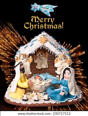 Scene of the birth of Christ.Star of Bethlehem.Merry Christmas!Happy New Year! - stock photo