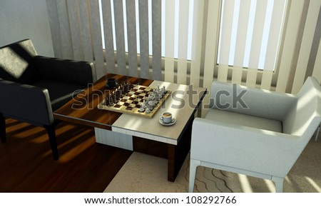 Scene the chess on table