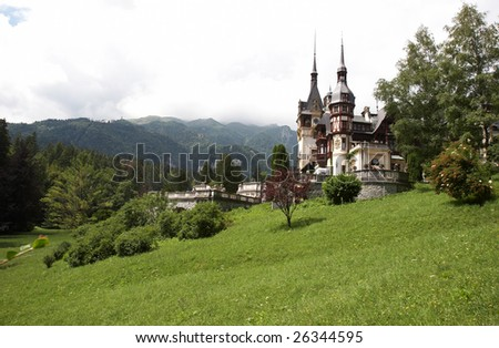 Scene with medieval castle in Carpathians Europe