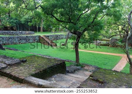 scene with old Sigiriya garden - stock photo