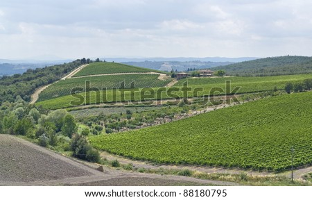 scenery around Gaiole near Castle of Brolio in the Chianti region of Tuscany in Central Italy