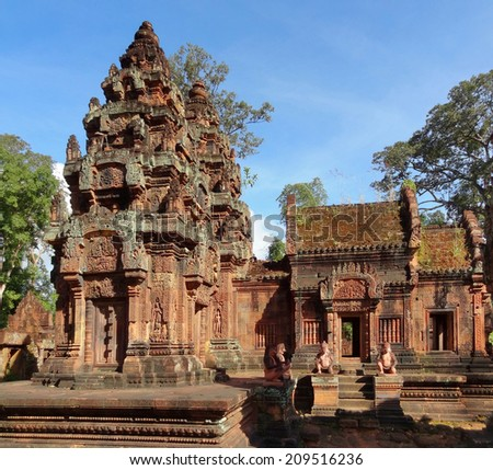 scenery at Banteay Srei, a historic temple in Cambodia - stock photo