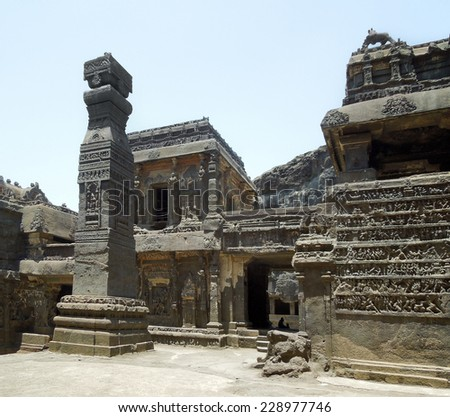 scenery at the Ellora Caves in the state Maharashtra located in India - stock photo