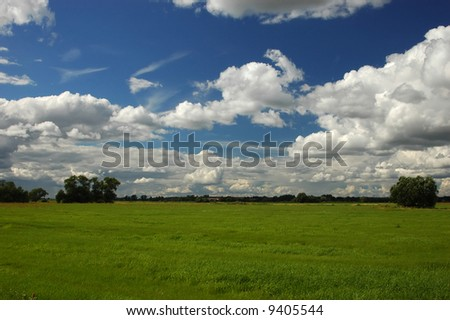 Scenery close to Berlin, Germany floodplains of the river Elbe - stock photo