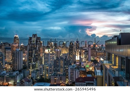 Scenery of Bangkok city at twilight epic sky. - stock photo