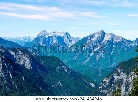 scenery of high mountain with high peak - stock photo